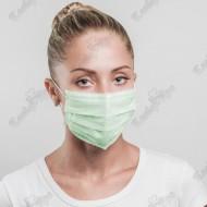 Маска медицинская трехслойная зеленая (50шт.)